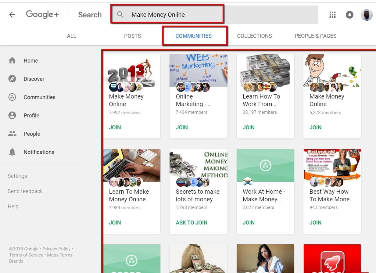 Google Plus Communities Search