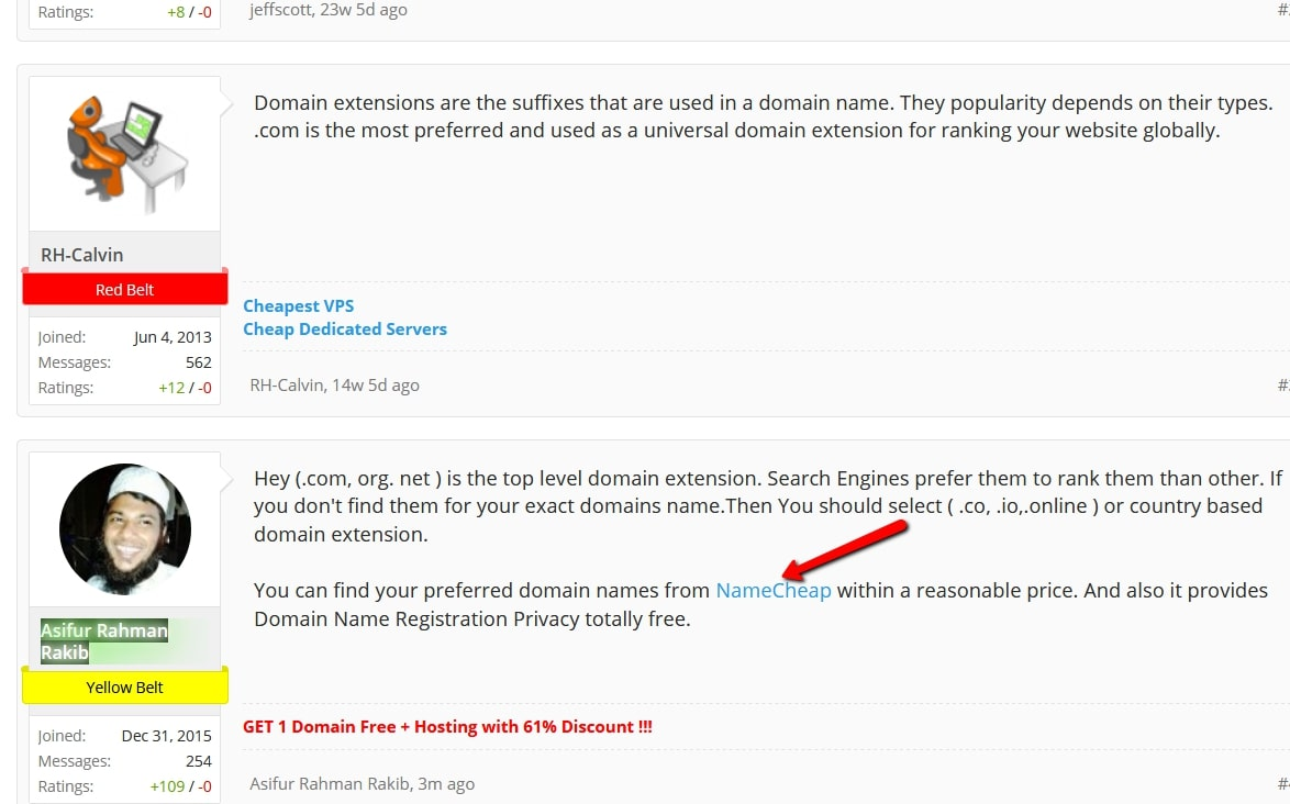 Forum Commenting Example