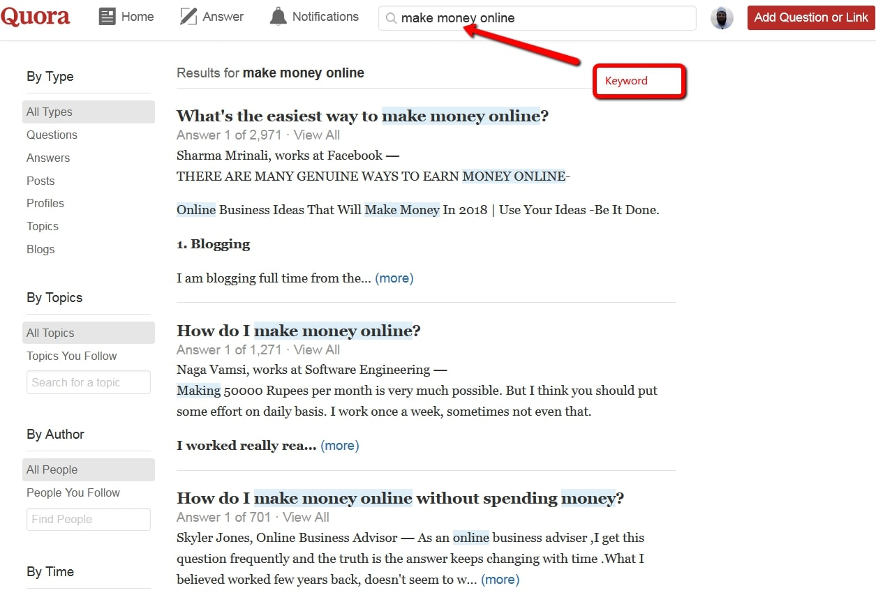 Quora Question Find Example