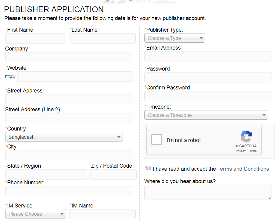 Example Of Publisher SignUp Form