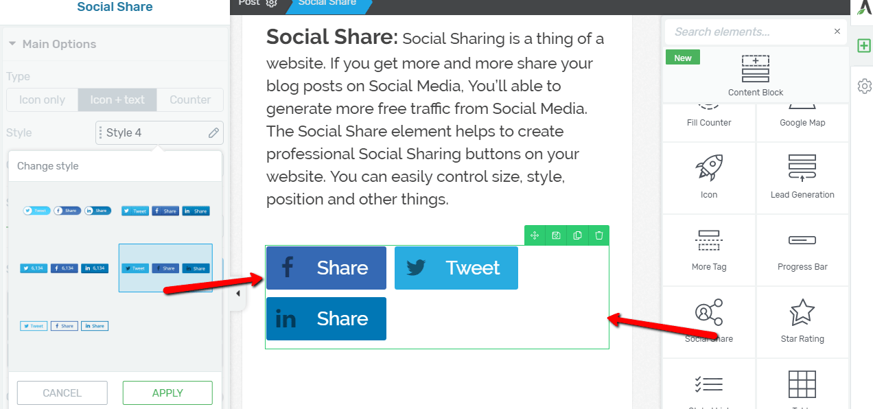 Thrive Architect Review Of Social Share