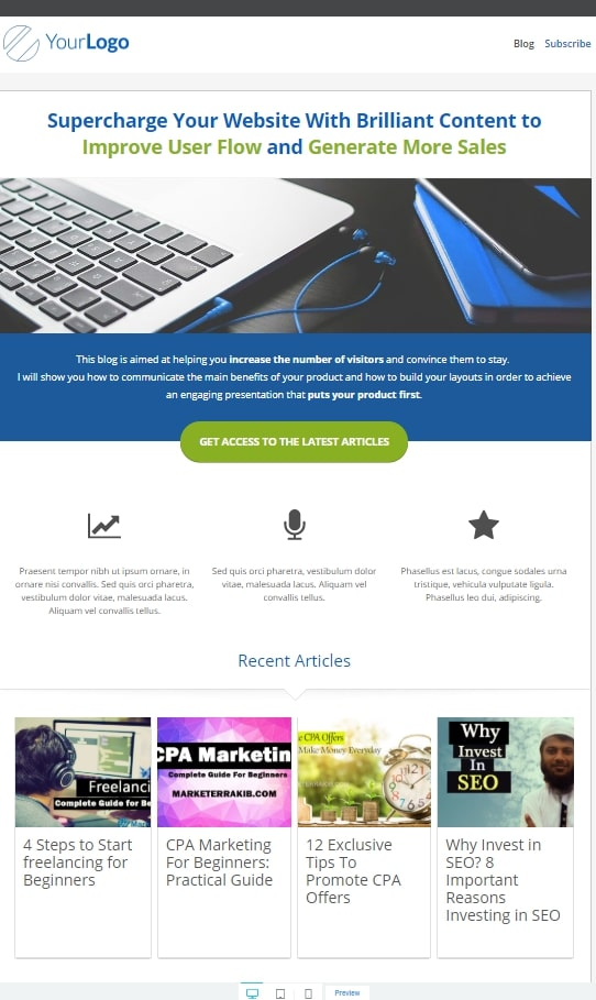 Homepage Templates Review of Thrive Architect