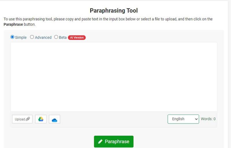 Paraphrasing tool example