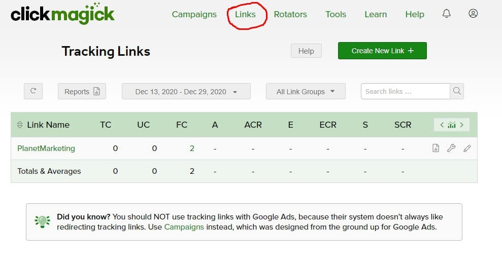 ClickMagick Review of Links Tracking