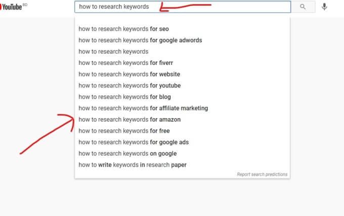 YouTube suggested keywords