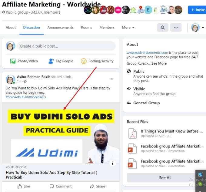 fb group posting example
