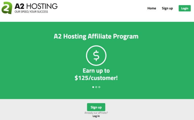 A2 hosting is the best Tier Two affiliate program