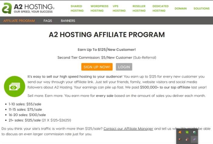A2 hosting affiliate program