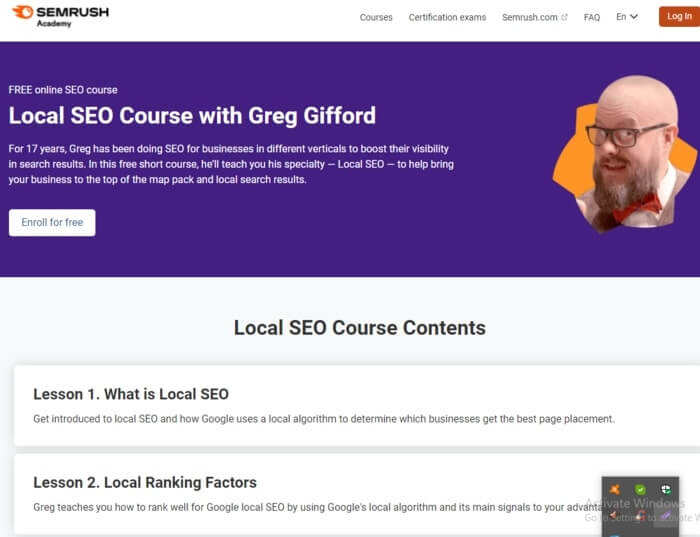 Best Local Course by SEMrush