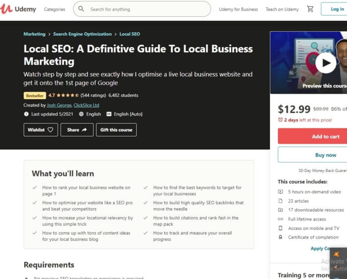 Best Local SEO Tutorial by Udemy
